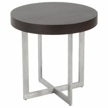 Oliver Side Table in Wenge and Brushed Stainless Steel