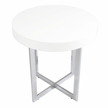 Oliver Side Table in White Lacquer and Chrome