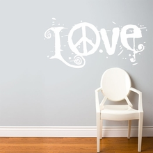 Peace & Love in White Wall Decal