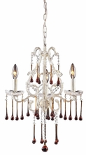 Opulence Antique White Three Arm Chandelier with Amber Crystals