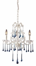 Opulence Antique White Three Arm Chandelier with Aqua Crystals