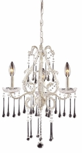 Opulence Antique White Three Arm Chandelier with Clear Crystals