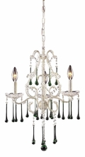 Opulence Antique White Three Arm Chandelier with Lime Crystals
