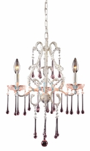 Opulence Antique White Three Arm Chandelier with Rose Crystals