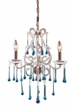 Opulence Three Arm Chandelier in Rust with Aqua Crystals