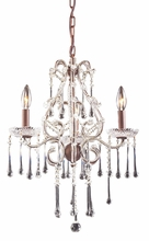 Opulence Three Arm Chandelier in Rust with Clear Crystals