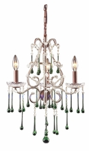 Opulence Three Arm Chandelier in Rust with Lime Crystals