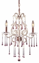 Opulence Three Arm Chandelier in Rust with Rose Crystals