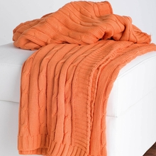 Orange Cable Knit Throw Blanket