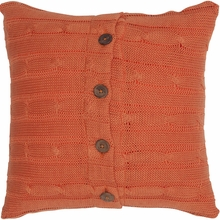 Orange Cable Knit Throw Pillow