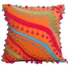 Orange Velvet Pillow with Beaded Pom Poms