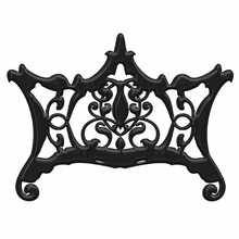 Ornate Chippendale Redux Black Acrylic Glossy Headboard Wall Decal for Queen Bed