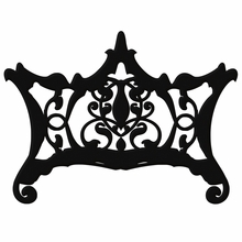 Ornate Chippendale Redux Charcoal Black Matte Headboard Wall Decal for Queen Bed