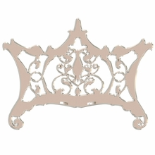 Ornate Chippendale Redux Soft Taupe Headboard Wall Decal for Queen Bed