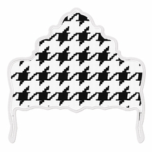 Ornate Houndstooth Black & White Headboard Wall Decal for Queen Bed