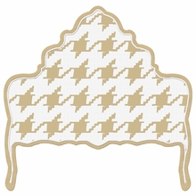 Ornate Houndstooth Tan & White Headboard Wall Decal