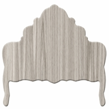 Ornate Woodgrain Grey Headboard Wall Decal for Queen Bed