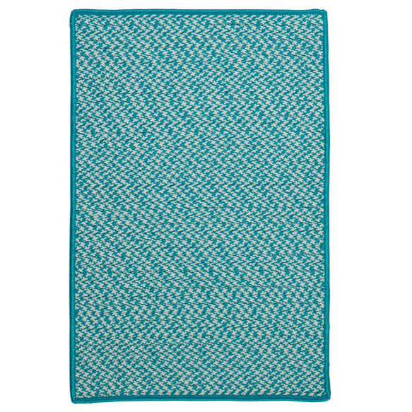 District17 Outdoor Houndstooth Rug in Turquoise Braided