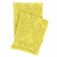 Paisley Lace Chartreuse Throw Blanket