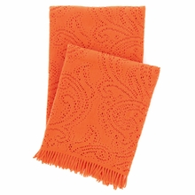 Paisley Lace Orange Throw Blanket