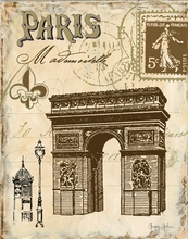 Paris Lithograph Arc de Triomphe Canvas Wall Art