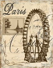 Paris Lithograph Ferris Wheel Canvas Wall Art
