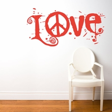 Peace & Love in Red Wall Decal