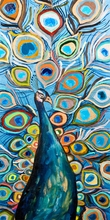 Peacock Metallic Ocean Blue Canvas Art
