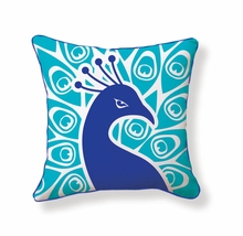 Peacock Reversible Throw Pillow