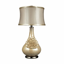 Pearlescent Flower Table Lamp With Cream Shade and Metallic Faux Leather Trim