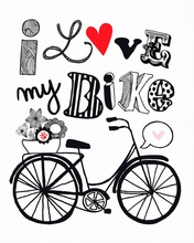 Pen And Pink Love My Bike Canvas Wall Art