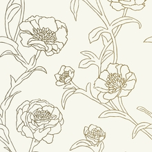Peonies Gold Leaf Removable Wallpaper