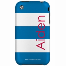Personalized Blue Stripe Snap-on iPhone 4 Case