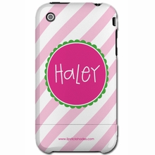 Personalized Diagonal Pink Stripe Snap-on iPhone 4 Case