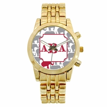 Personalized Gold Plated Boyfriend Watch - Elephants