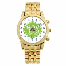 Personalized Gold Plated Boyfriend Watch - Mini Anchors