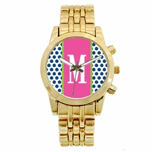 Personalized Gold Plated Boyfriend Watch - Polka Dots