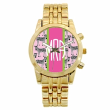 Personalized Gold Plated Boyfriend Watch - Zebra