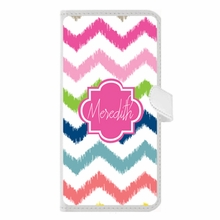 Personalized iPhone Wallet Case in Multi Chevron Ikat