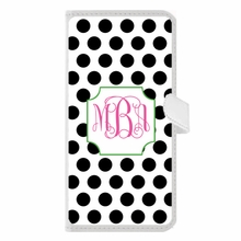 Personalized iPhone Wallet Case in Polka Polka