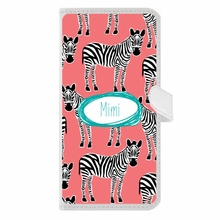 Personalized iPhone Wallet Case in Zebra