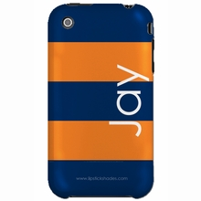 Personalized Navy and Orange Stripe Snap-on iPhone 4 Case