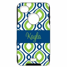 Personalized Otterbox Phone Case in Happy Duo Navy Apple
