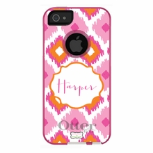 Personalized Otterbox Phone Case in Ikat Trio Pumpkin Pink