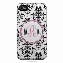 Personalized Pink and Black Damask Snap-on iPhone 4 Case