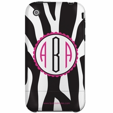 Personalized Pink and Black Zebra Snap-on iPhone 4 Case