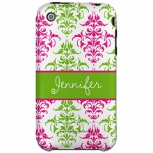 Personalized Pink and Green Damask Snap-on iPhone 4 Case