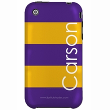 Personalized Purple and Yellow Stripe Snap-on iPhone 4 Case