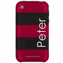 Personalized Red and Black Stripe Snap-on iPhone 4 Case