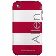 Personalized Red and White Stripe Snap-on iPhone 4 Case